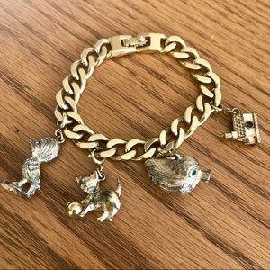 Vintage Monet Gold Charm Bracelet Set w/ 4 Charm ✨